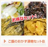 ご飯のおかず漬物セットB白菜漬、つぼ漬昆布、高菜漬、はりはり漬